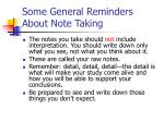 some general reminders about note taking