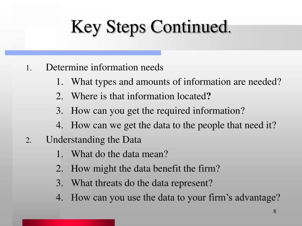 Key Steps Continued