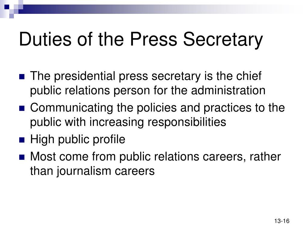 Duties of the Press Secretary