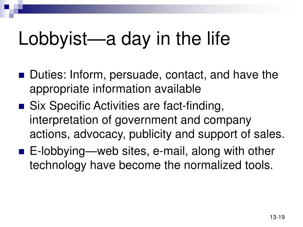 Lobbyist—a day in the life