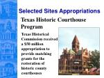 selected sites appropriations