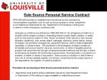 sole source personal service contract