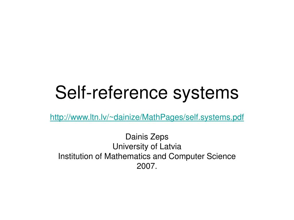 self reference systems l.