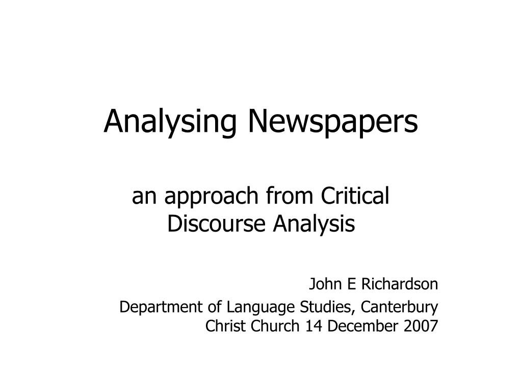 analysing newspapers l.