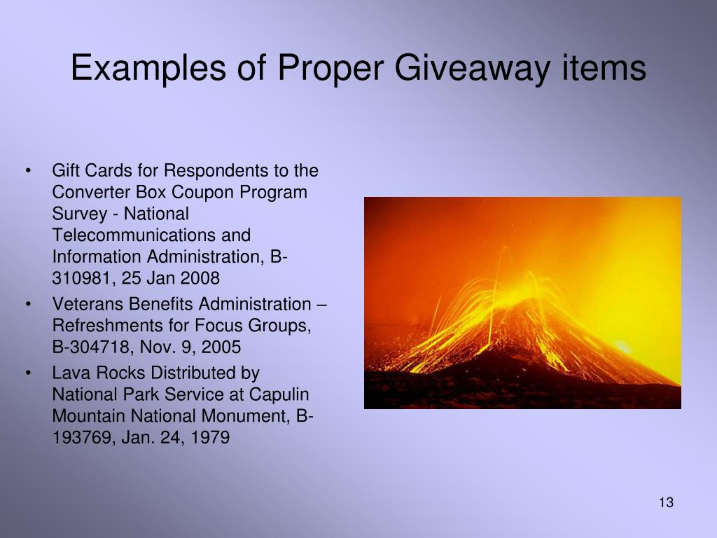 Examples of Proper Giveaway items