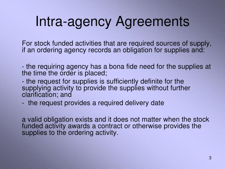 Intra agency agreements