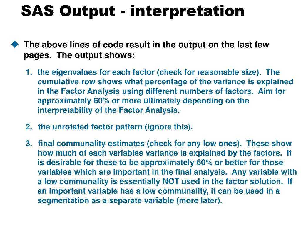 SAS Output - interpretation