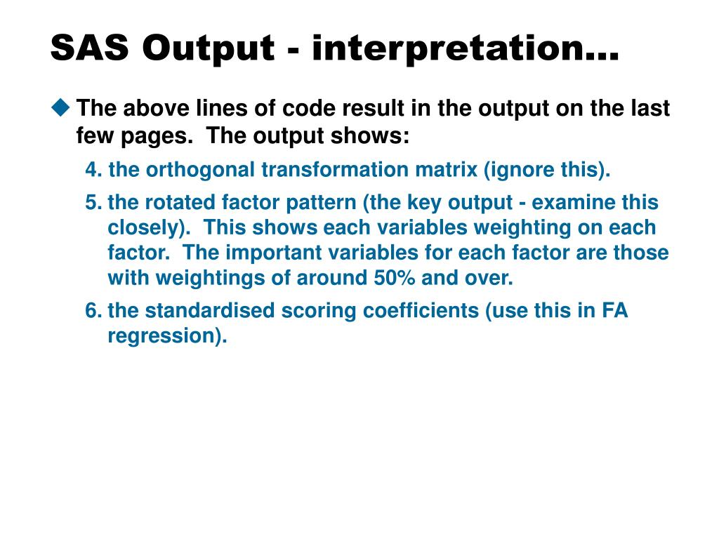 SAS Output - interpretation…
