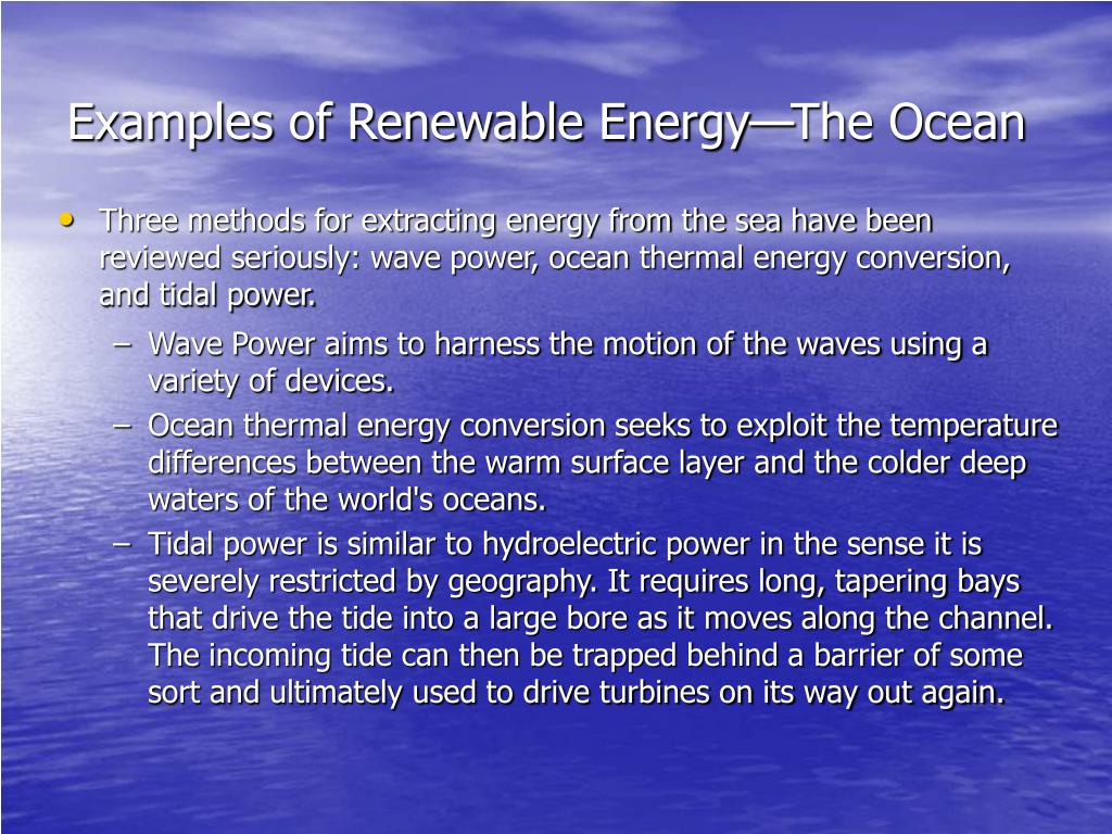 Examples of Renewable Energy—The Ocean