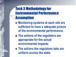 task 3 methodology for environmental performance assumption
