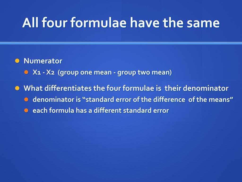 All four formulae have the same