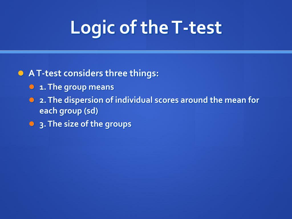 Logic of the T-test