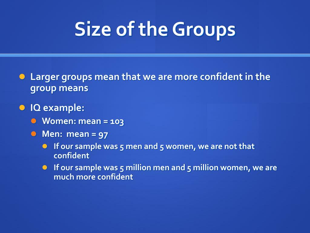 Size of the Groups
