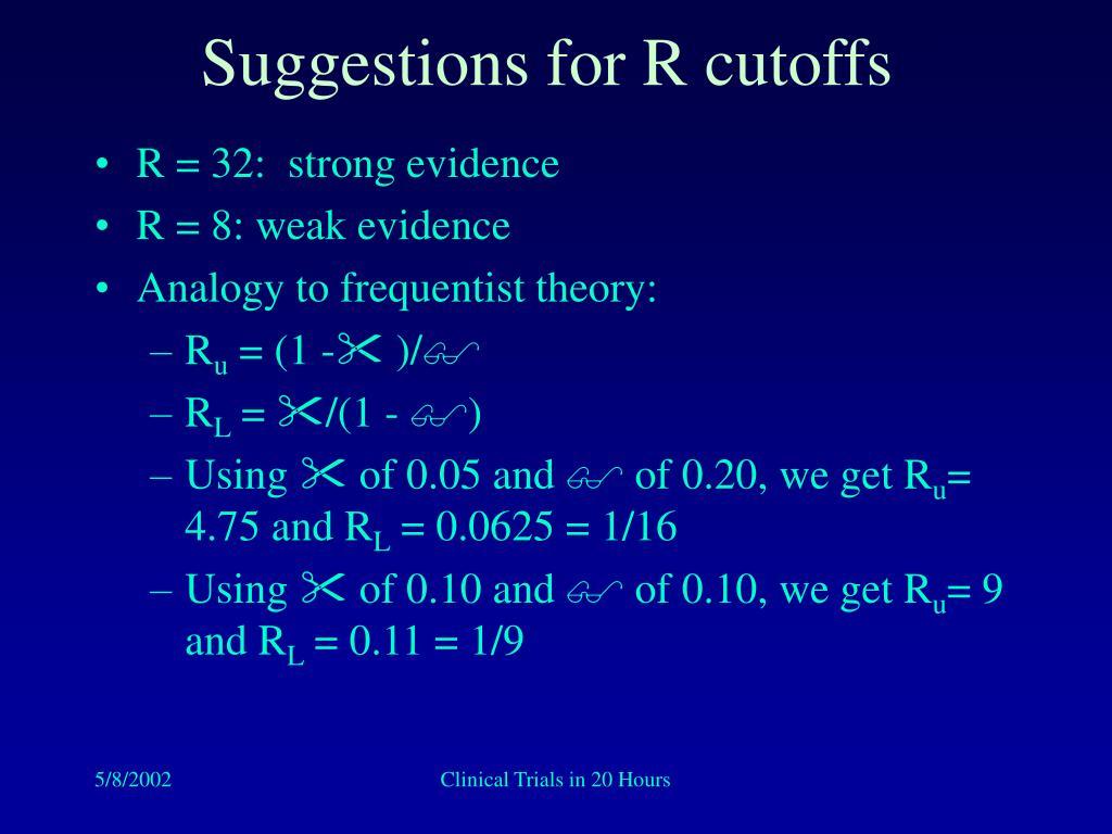 Suggestions for R cutoffs