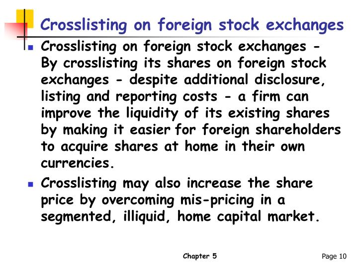 Crosslisting on foreign stock exchanges