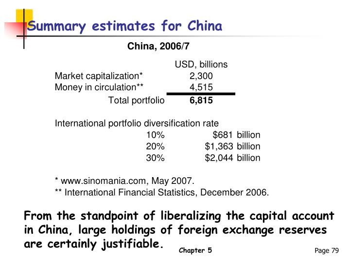 Summary estimates for China