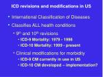icd revisions and modifications in us