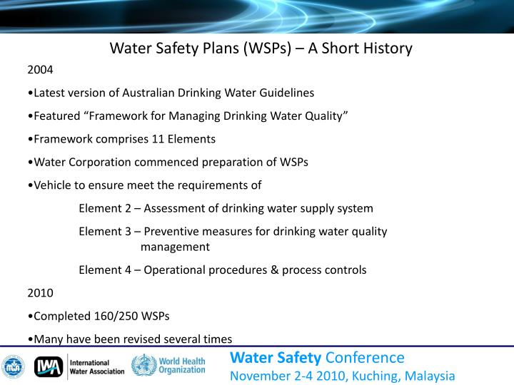 Water Safety Plans (WSPs) – A Short History