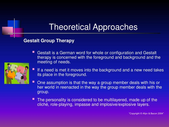 group therapy theoretical approaches Theoretical approaches: social work systems theory social workers can encounter many different obstacles in their line of work each obstacle faced represents a different kind of challenge.