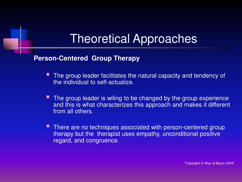 adlerian person centered or existential approaches to group therapy A visual encapsulation of adlerian theory: a tool for teaching and learning cynthia j osborn a visual diagram is presented in this article to illustrate 6 key.