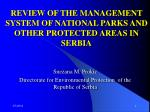 review of the management system of national parks and other protected areas in serbia