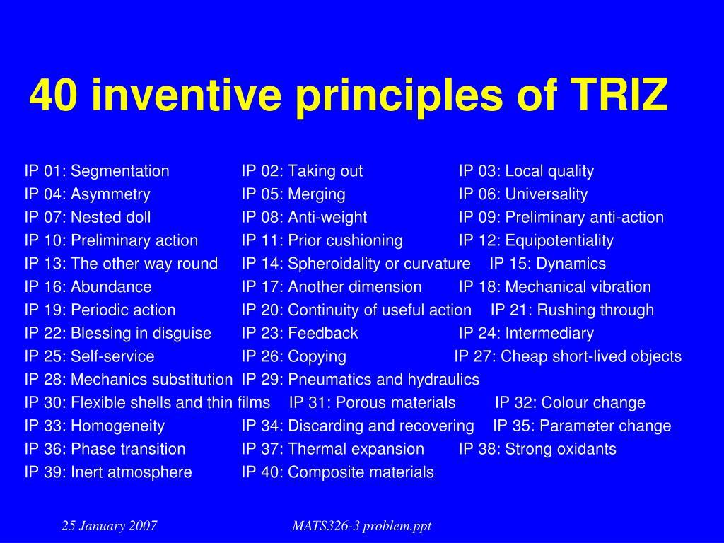 40 inventive principles of TRIZ