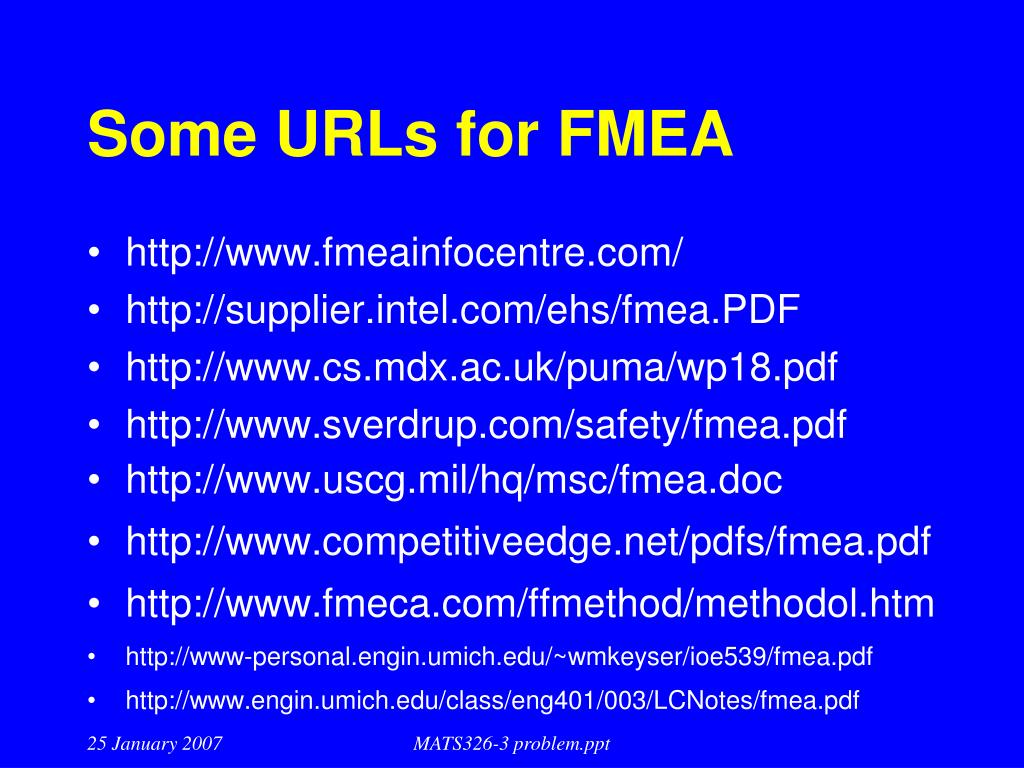 Some URLs for FMEA