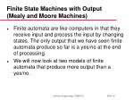 finite state machines with output mealy and moore machines
