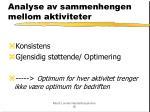 analyse av sammenhengen mellom aktiviteter