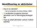 identifisering av aktiviteter