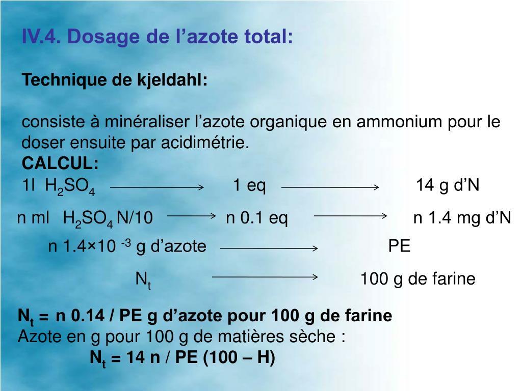 IV.4. Dosage de l'azote total: