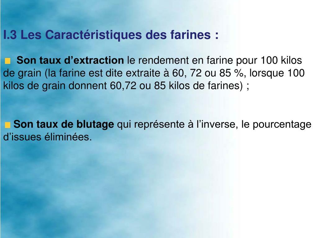 I.3 Les Caractéristiques des farines: