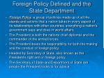 foreign policy defined and the state department