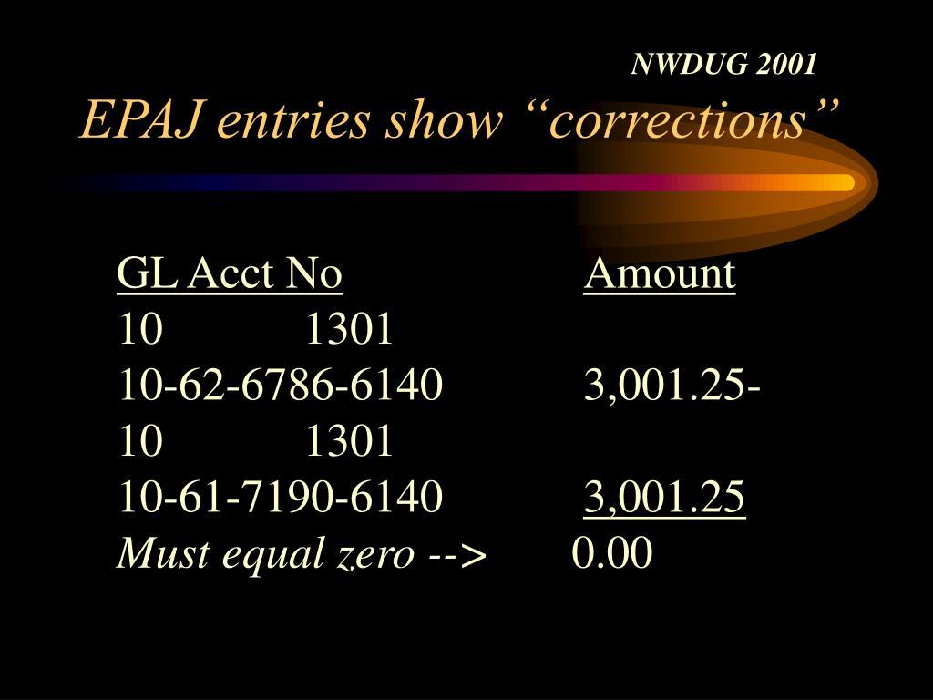 """EPAJ entries show """"corrections"""""""
