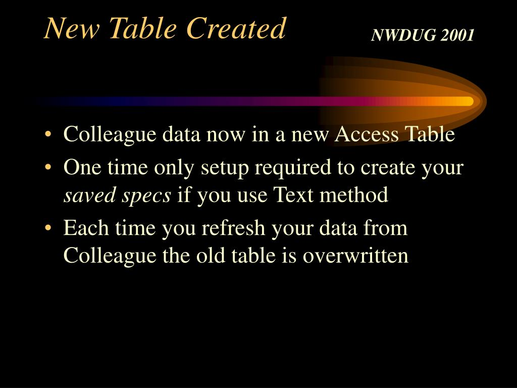 New Table Created