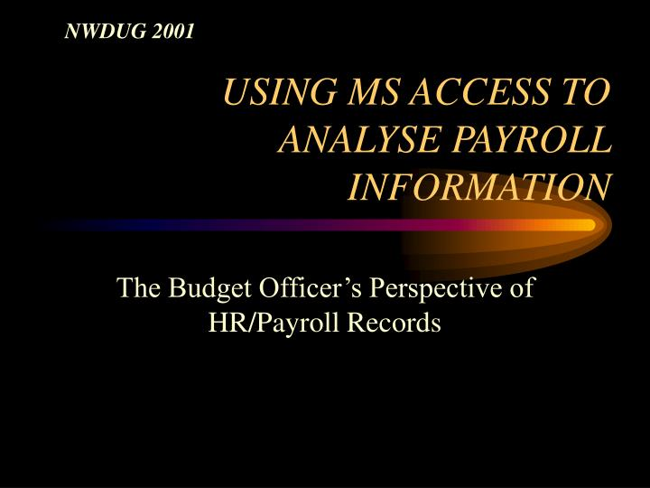 Using ms access to analyse payroll information