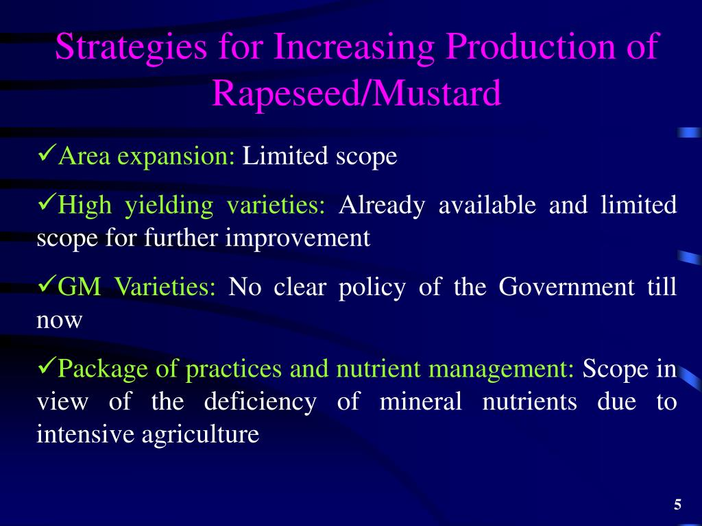 Strategies for Increasing Production of Rapeseed/Mustard