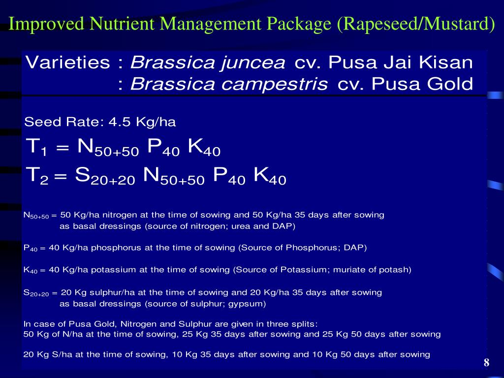 Improved Nutrient Management Package (Rapeseed/Mustard)