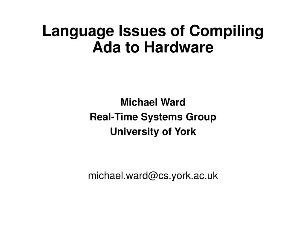 language issues of compiling ada to hardware l.