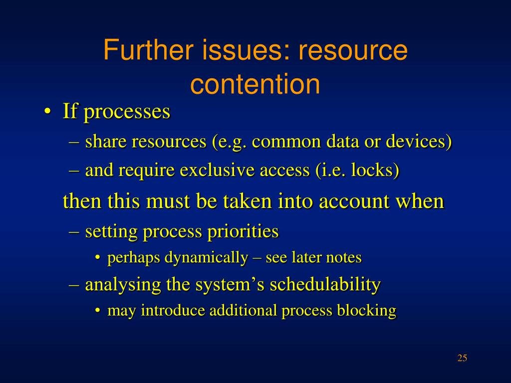 Further issues: resource contention
