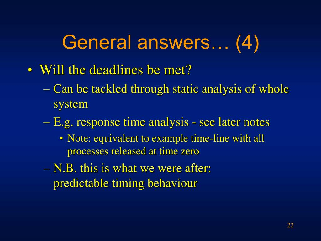 General answers… (4)