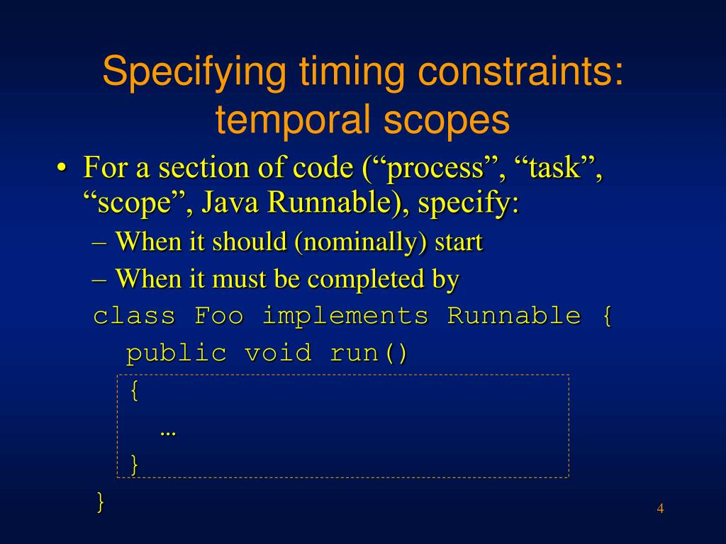 Specifying timing constraints: temporal scopes