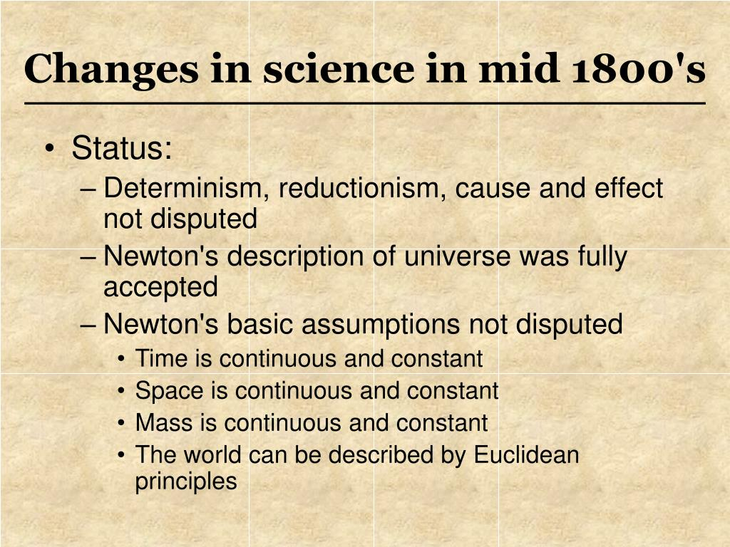Changes in science in mid 1800's