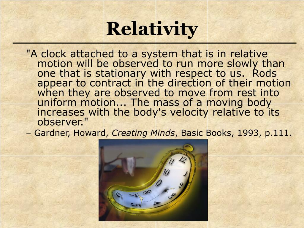 """""""A clock attached to a system that is in relative motion will be observed to run more slowly than one that is stationary with respect to us.  Rods appear to contract in the direction of their motion when they are observed to move from rest into uniform motion... The mass of a moving body increases with the body's velocity relative to its observer."""""""