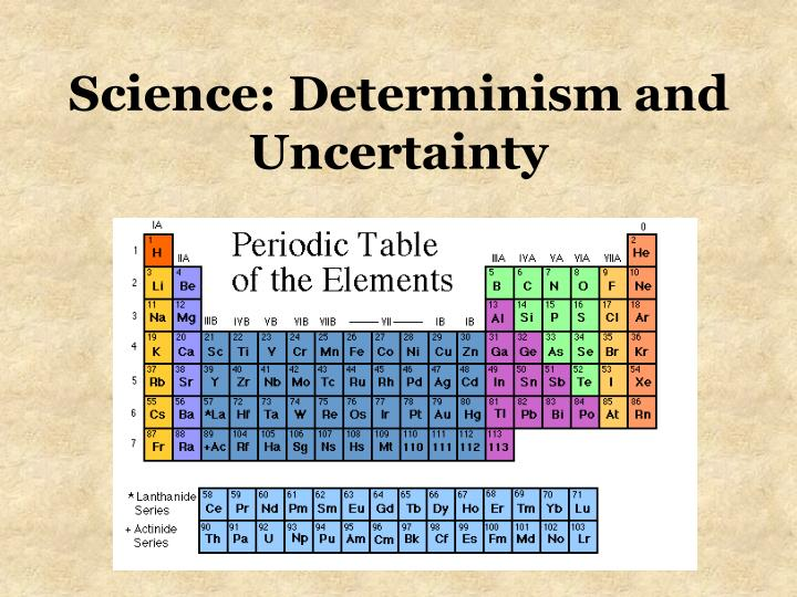 Science determinism and uncertainty