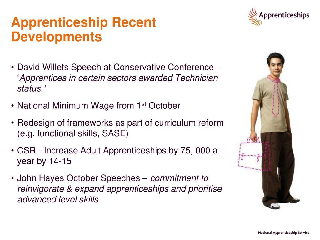 Apprenticeship Recent Developments