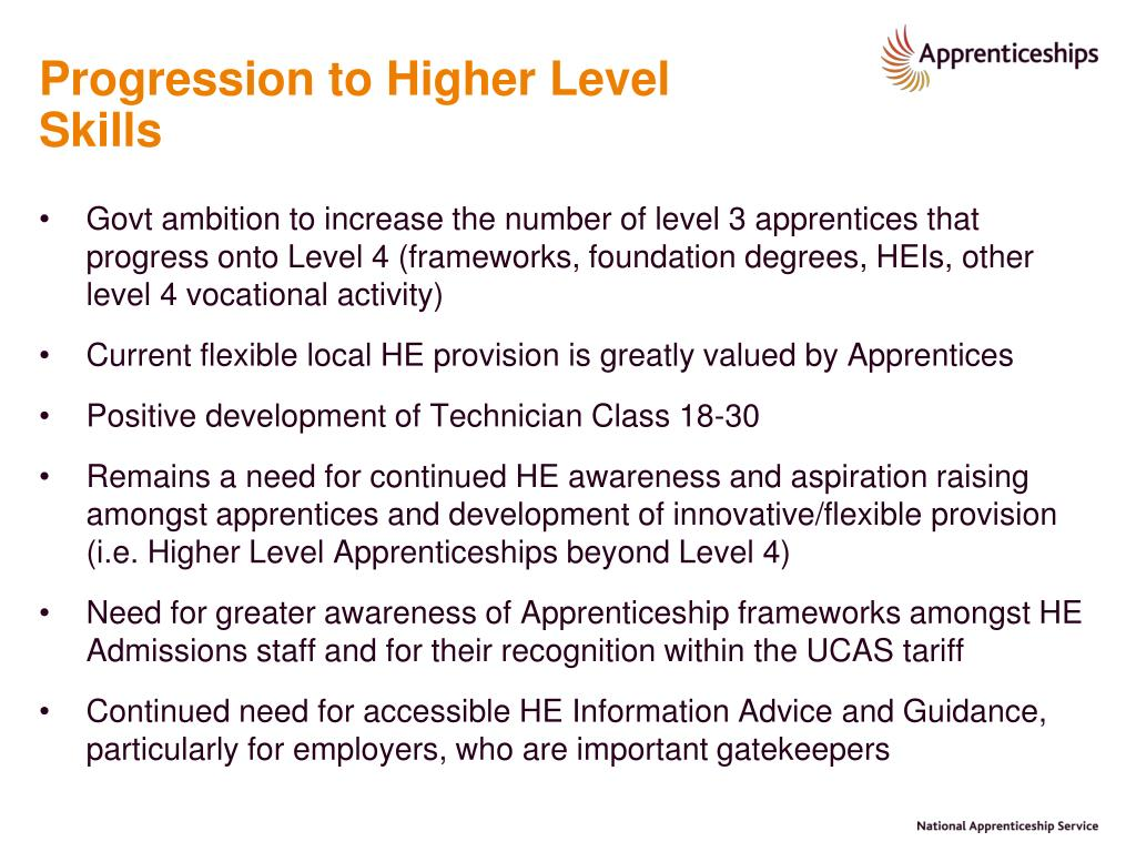 Progression to Higher Level Skills
