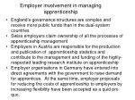 employer involvement in managing apprenticeship