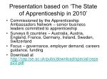 presentation based on the state of apprenticeship in 2010