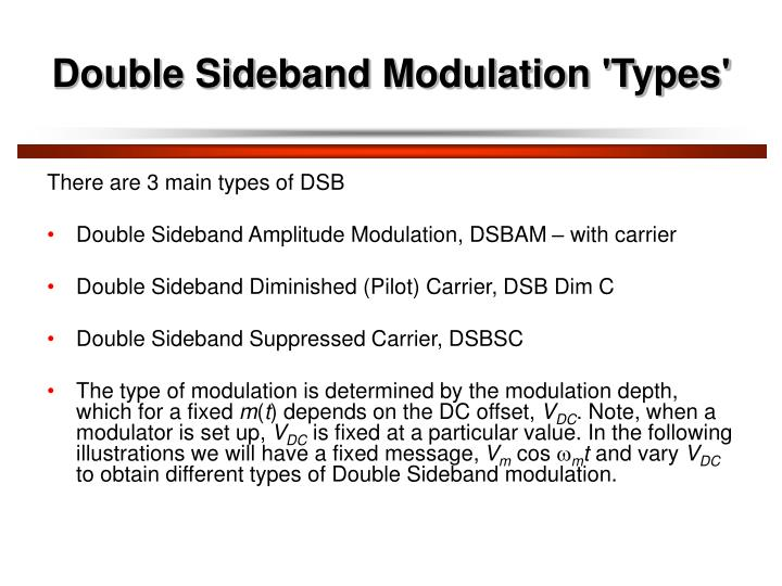 Double Sideband Modulation 'Types'